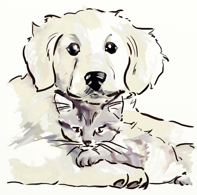 Perrito y gatito libre illustration