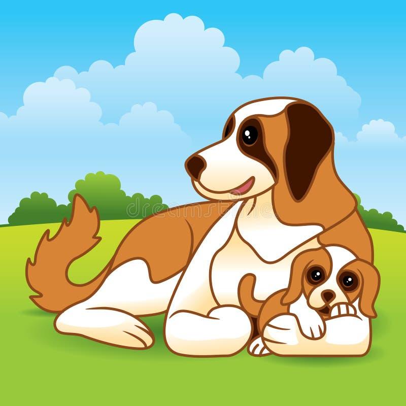 Perrito y madre stock de ilustración