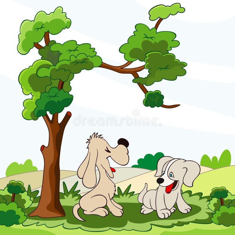 Perritos felices bajo el árbol libre illustration