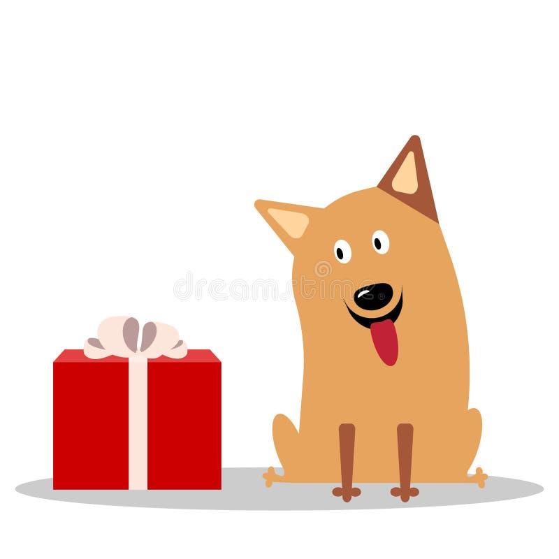 Perro alegre lindo de la historieta ilustración del vector