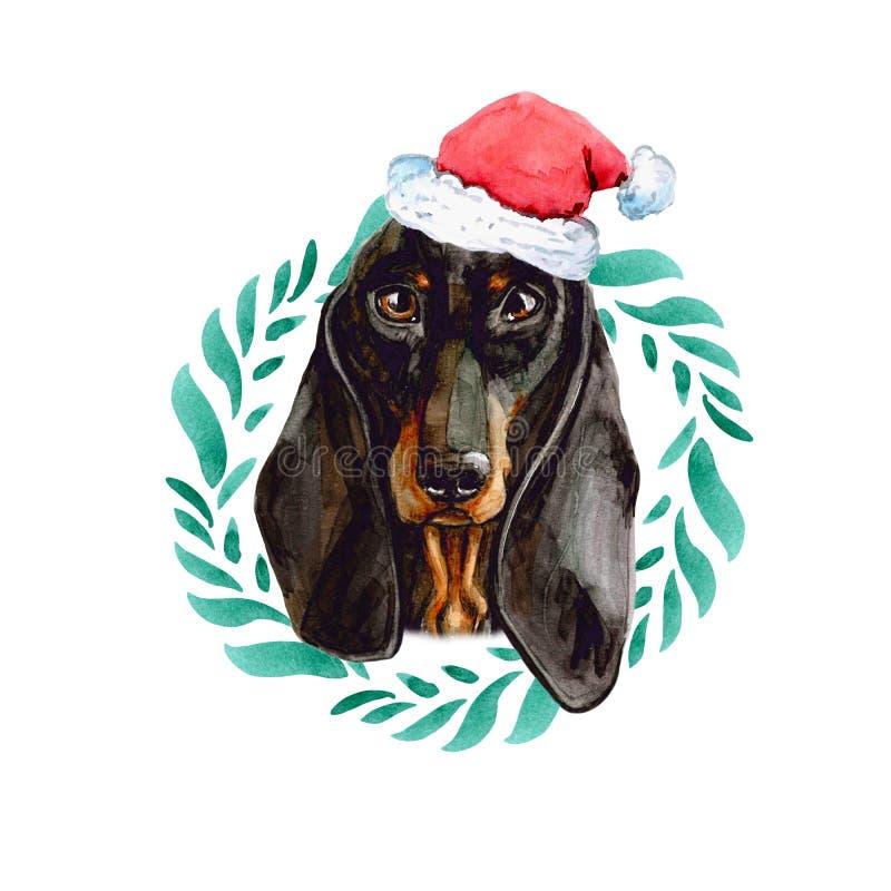 Perro basset en el casquillo de Santa Claus New Year y en una guirnalda de la Navidad Aislado en el fondo blanco libre illustration