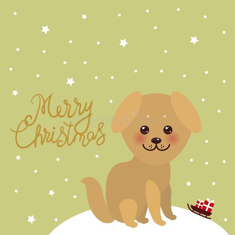 Perro beige de oro divertido de Kawaii del diseño de la tarjeta del Año Nuevo de la Feliz Navidad, cara con los ojos grandes y me libre illustration