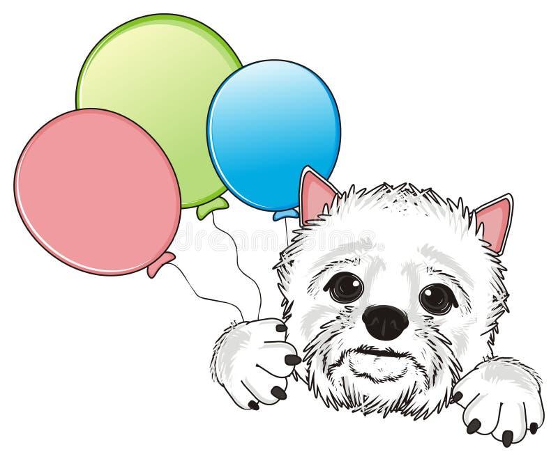Perro blanco con los globos ilustración del vector