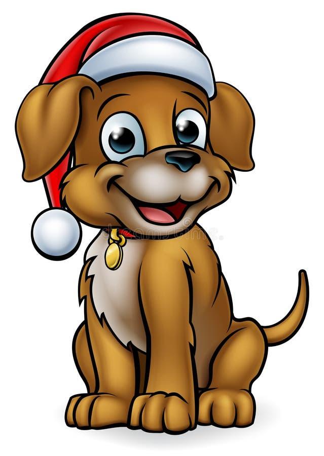 Perro casero de la Navidad de la historieta ilustración del vector