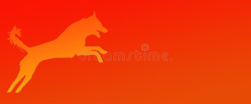 Perro casero del fondo del jefe que salta en fondo anaranjado de la pendiente libre illustration