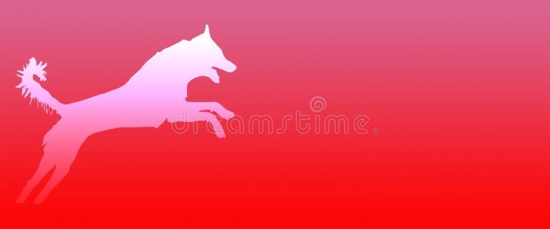 Perro casero del fondo del jefe que salta en fondo anaranjado rosado de la pendiente ilustración del vector