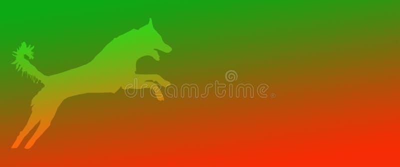 Perro casero del fondo del jefe que salta en fondo anaranjado verde de la pendiente libre illustration