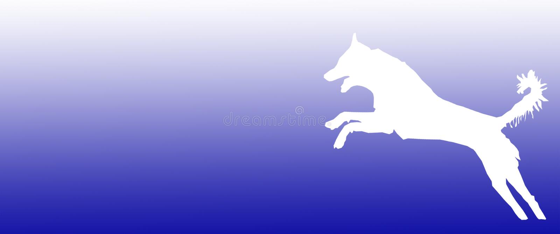 Perro casero del fondo del jefe que salta en fondo azul de la pendiente stock de ilustración