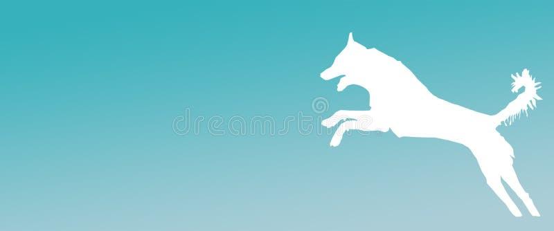 Perro casero del fondo del jefe que salta en fondo de la pendiente de la turquesa stock de ilustración