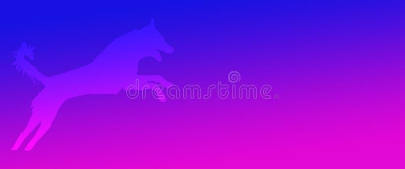 Perro casero del fondo del jefe que salta en fondo magenta azul de la pendiente libre illustration