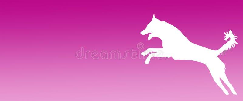 Perro casero del fondo del jefe que salta en fondo magenta de la pendiente stock de ilustración