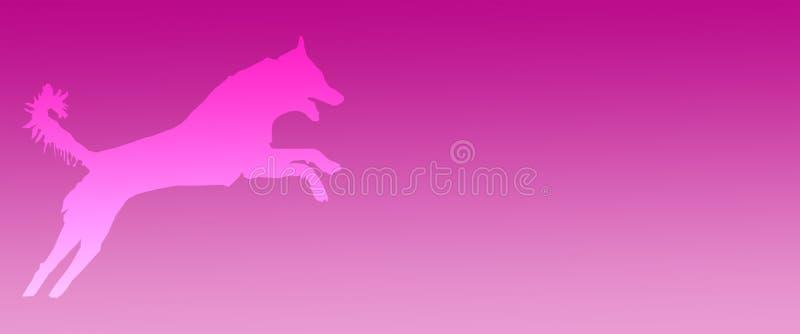Perro casero del fondo del jefe que salta en fondo magenta de la pendiente ilustración del vector
