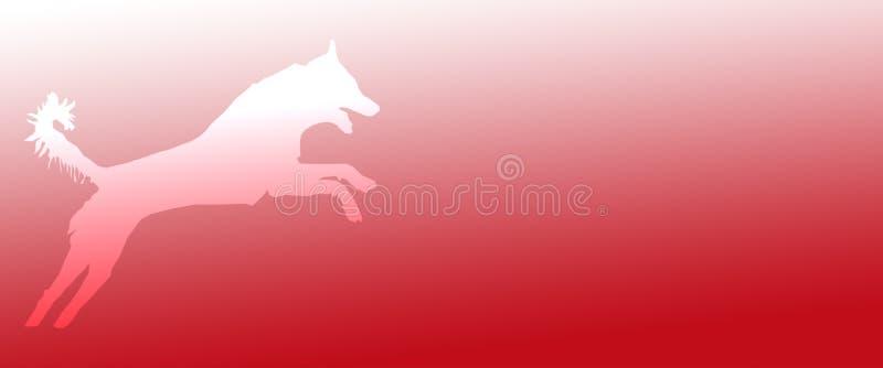 Perro casero del fondo del jefe que salta en fondo rojo de la pendiente stock de ilustración