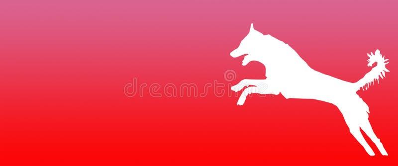 Perro casero del fondo del jefe que salta en fondo rosado rojo de la pendiente stock de ilustración