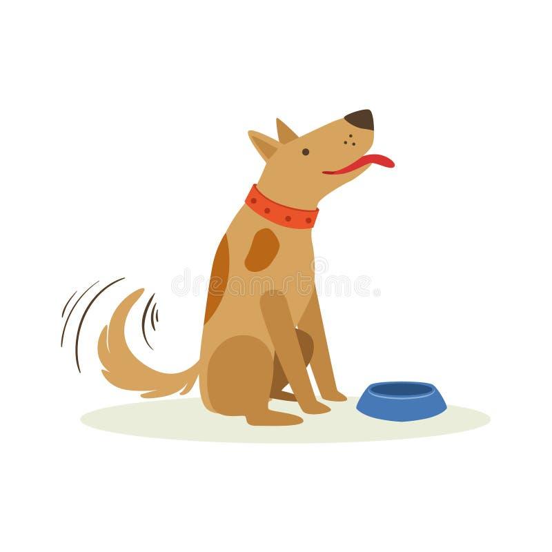Perro casero Wating de Brown a ser Fed With Dog Food, ejemplo animal de la historieta de la emoción ilustración del vector