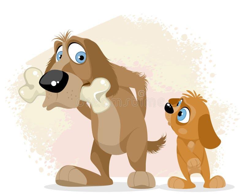 Perro codicioso con un hueso libre illustration