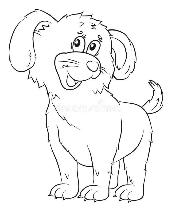 Perro, colorante, la imagen del animal en blanco y negro ilustración del vector