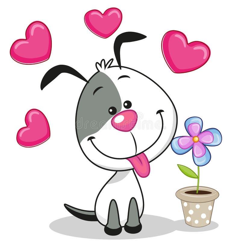 Perro con el corazón y la flor stock de ilustración