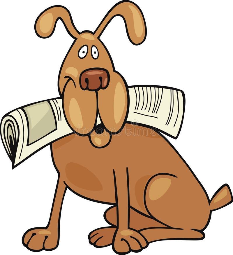Perro con el periódico libre illustration