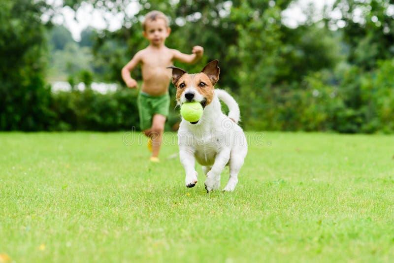 Perro con la bola que corre del niño que juega al juego de la puesta al día imagen de archivo