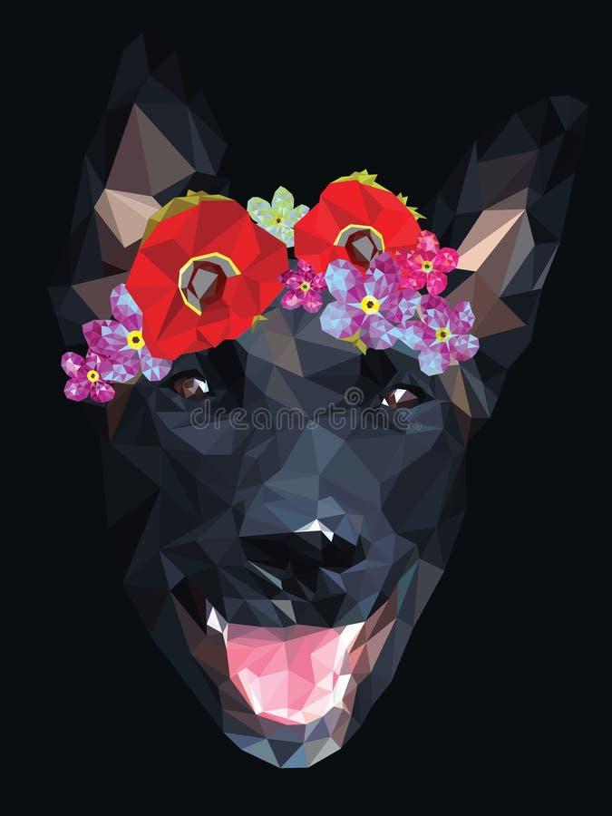 Perro con la corona floral ilustración del vector