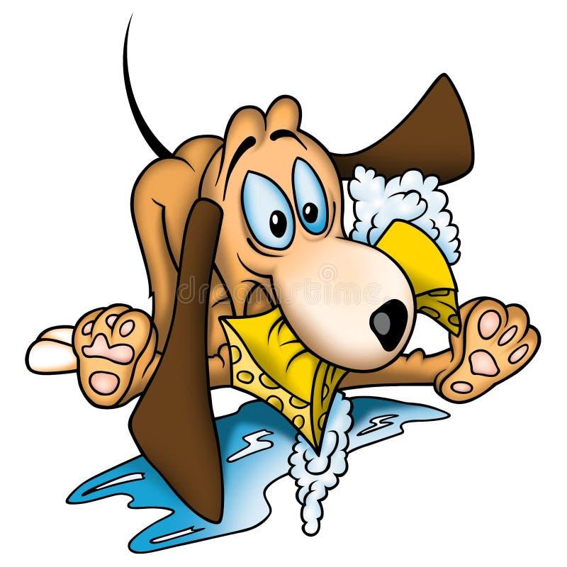 Perro con la esponja libre illustration