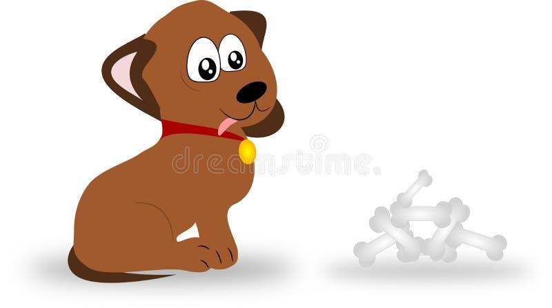 Perro con los huesos ilustración del vector