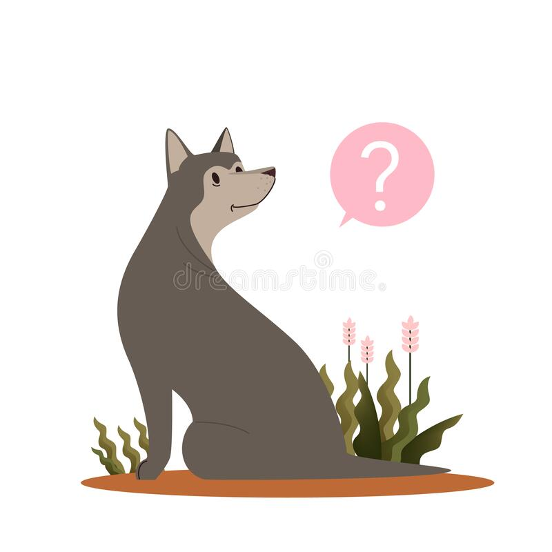 Perro con signo de interrogación Laika rusa europea con confusión libre illustration