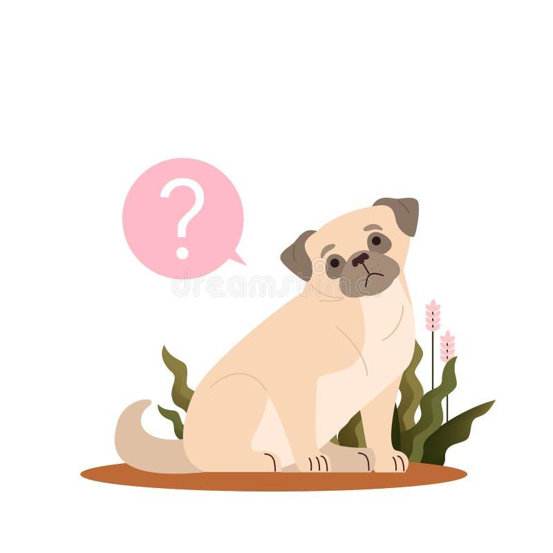 Perro con signo de interrogación Pug con confusión emoción stock de ilustración