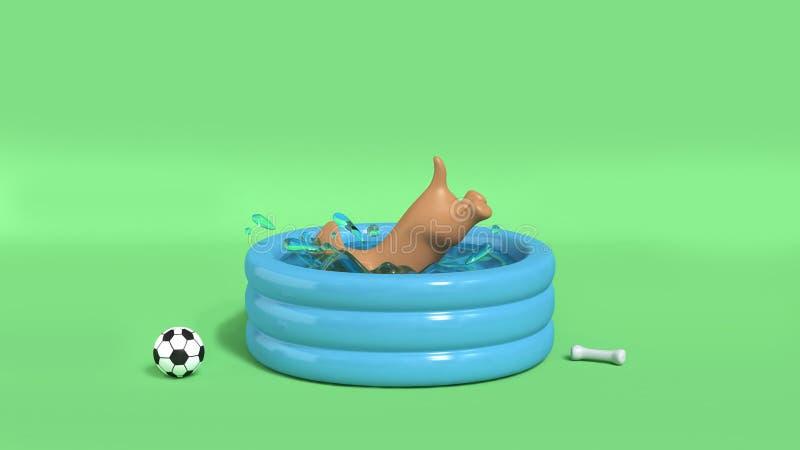 Perro de Brown que salta en el fondo verde 3d del chapoteo del agua de la piscina para rendir concepto del verano stock de ilustración