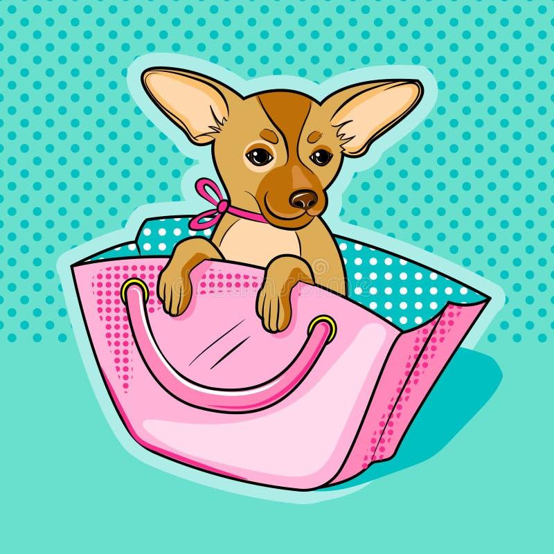 Perro de la chihuahua en vector rosado del bolso de la mujer ilustración del vector