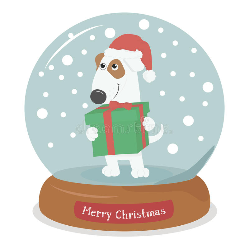 Perro de la Feliz Navidad con el regalo en globo de la nieve con los copos de nieve stock de ilustración