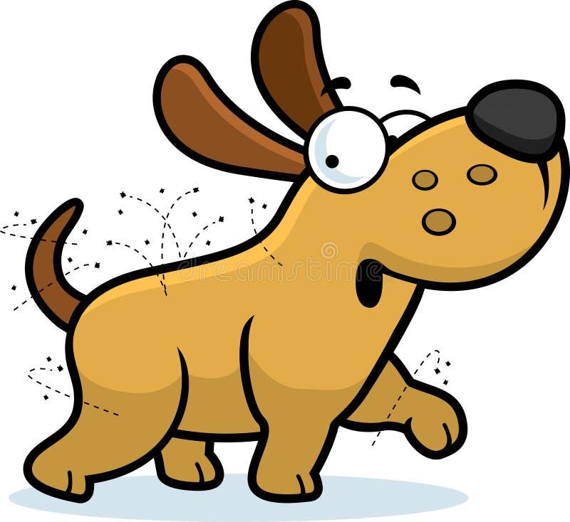 Perro de la historieta con las pulgas ilustración del vector