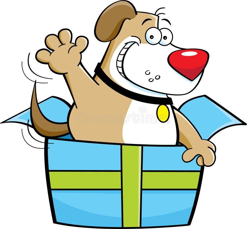 Perro de la historieta dentro de una caja de regalo libre illustration
