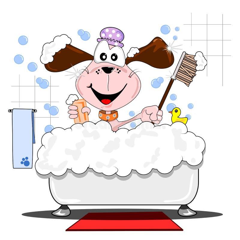 Perro de la historieta en el baño stock de ilustración