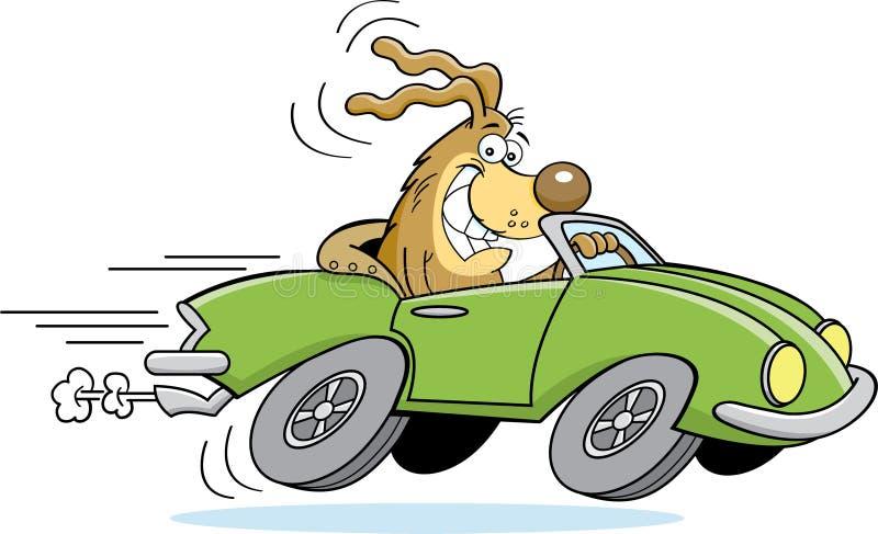 Perro de la historieta que conduce un coche stock de ilustración