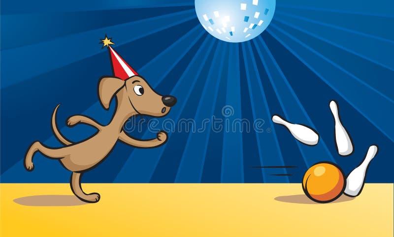 Perro de la historieta que juega al bowling libre illustration