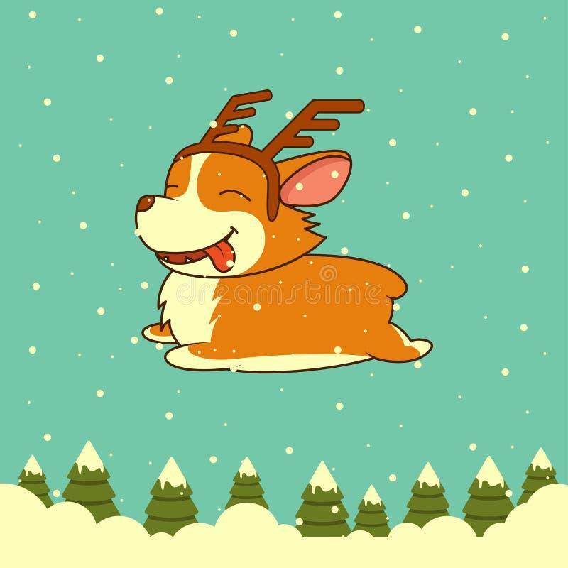 Perro de la Navidad del vector en fondo del bosque del invierno libre illustration