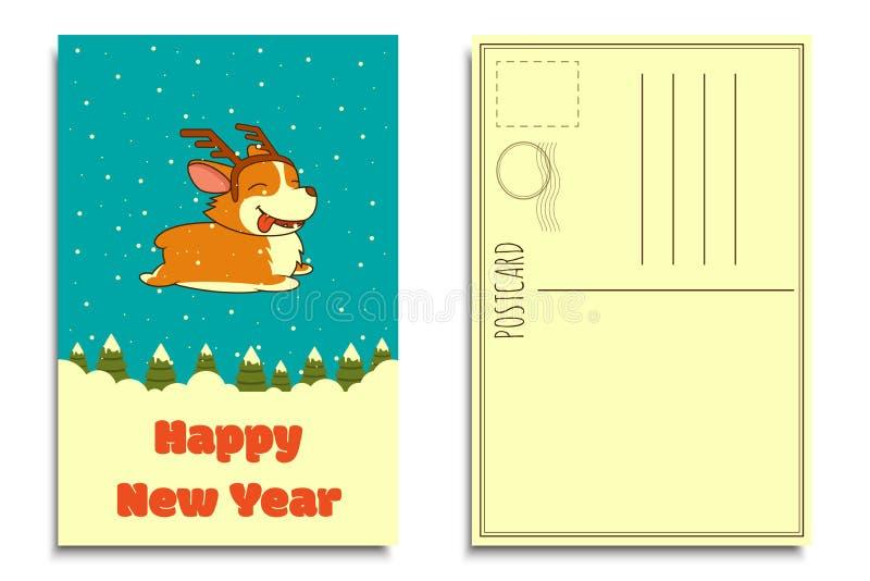Perro de la Navidad del vector en fondo del bosque del invierno Borde de cuerno de los ciervos del perro del corgi Galés que llev ilustración del vector
