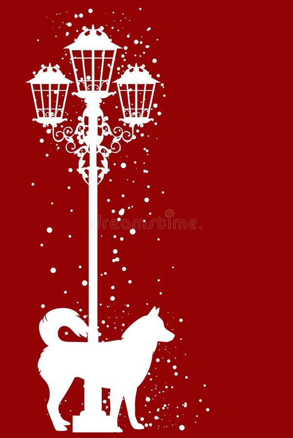 Perro de la Navidad y luz de calle entre vector de los snowlakes del vuelo libre illustration