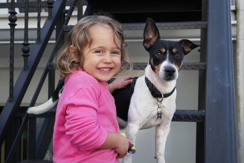 Perro de la niña y de Jack Russel foto de archivo