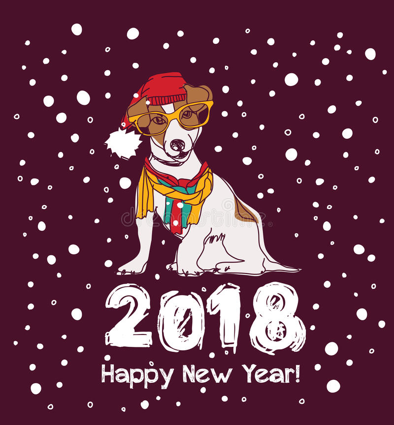 Perro de la tarjeta 2018 de la Feliz Año Nuevo de la nieve libre illustration