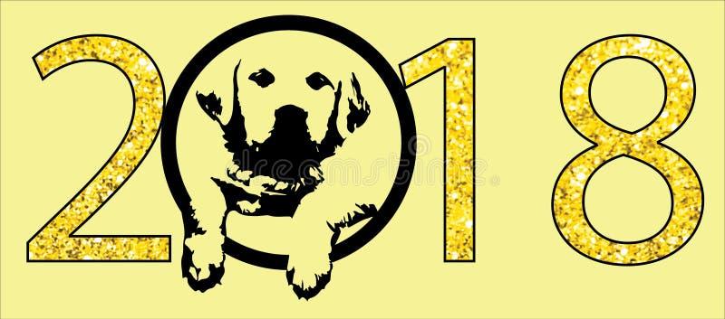 Perro de la tierra del Año Nuevo 2018 stock de ilustración