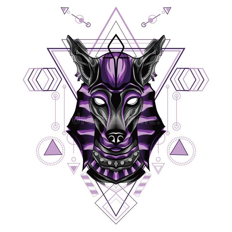 Perro de lobo anubis mítico con Geometría Sagrada Pattren ilustración del vector