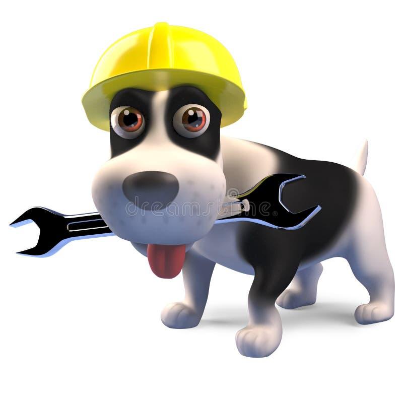 Perro de perrito del trabajador de construcción en la llave inglesa de los controles del casco de seguridad, 3d rendir stock de ilustración