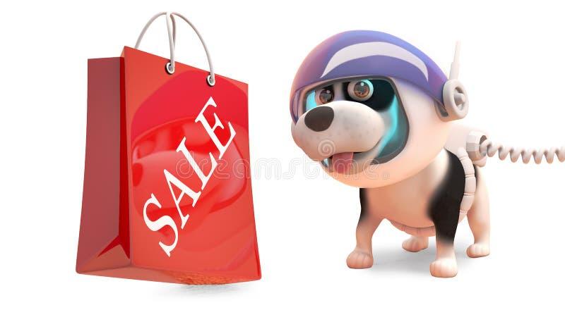 Perro de perrito en el spacesuit que mira un bolso que hace compras con la venta escrita en ella, ejemplo 3d stock de ilustración