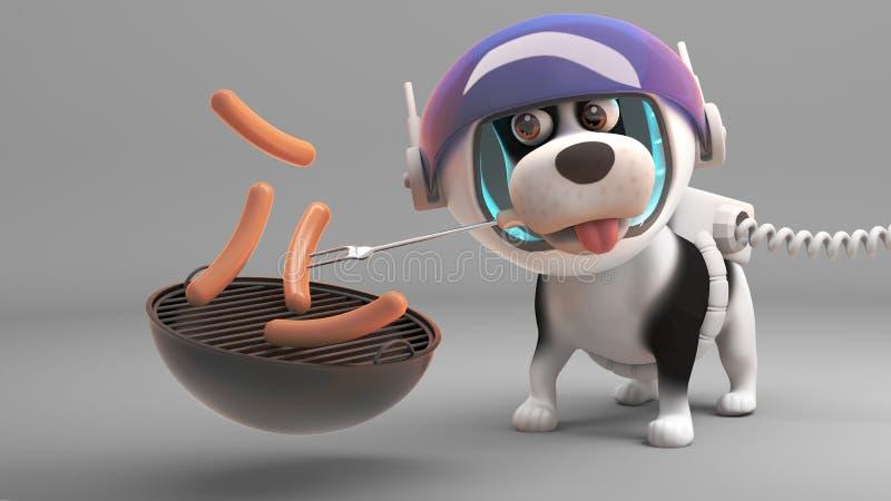 Perro de perrito hambriento en salchichas de los cocineros del spacesuit en su Bbq de la barbacoa, ejemplo 3d stock de ilustración