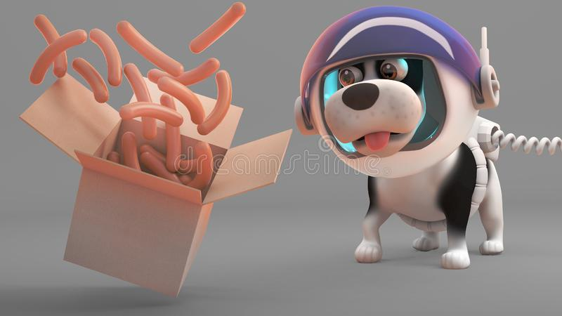 Perro de perrito hambriento en salchichas de los relojes del spacesuit flotar de una caja, ejemplo 3d ilustración del vector