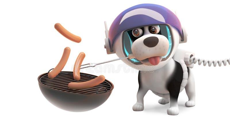 Perro de perrito hambriento en spacesuit que cocina las salchichas de Francfort en Bbq de la barbacoa, ejemplo 3d ilustración del vector