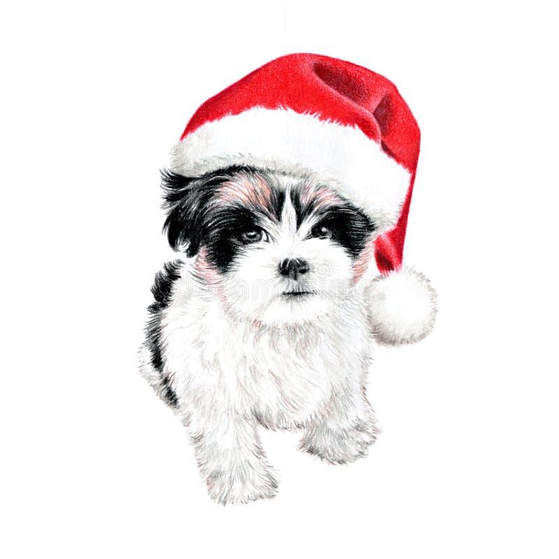 Perro de perrito lindo de la Navidad con el ejemplo del sombrero de santa arte coloreado dibujado mano del lápiz imágenes de archivo libres de regalías